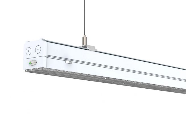 White end cap on led linear lighting
